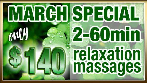 2-60min Massages only $140